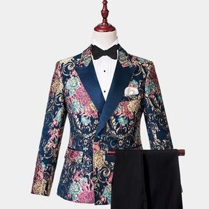 Other - Men Double Breasted Navy Blue Gold Floral Tuxedo